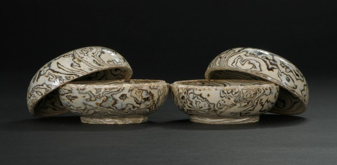 Pair Marbled Circular Boxes/Covers - 3