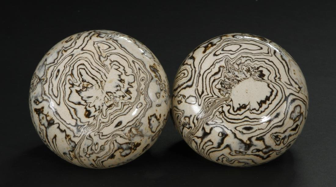 Pair Marbled Circular Boxes/Covers - 4