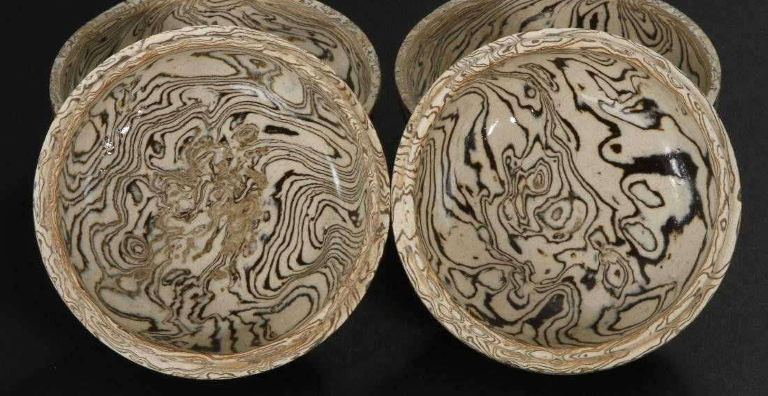Pair Marbled Circular Boxes/Covers - 5