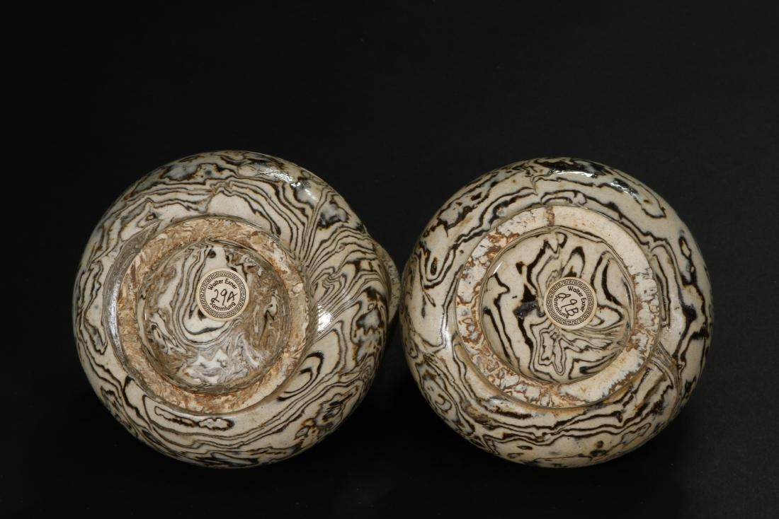 Pair Marbled Circular Boxes/Covers - 6
