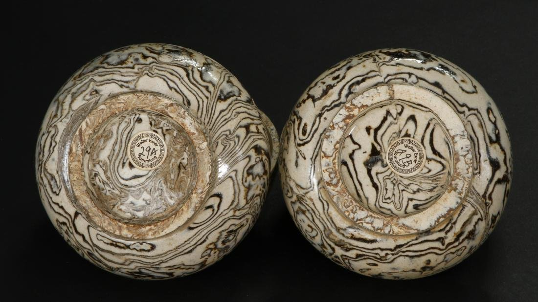 Pair Marbled Circular Boxes/Covers - 7