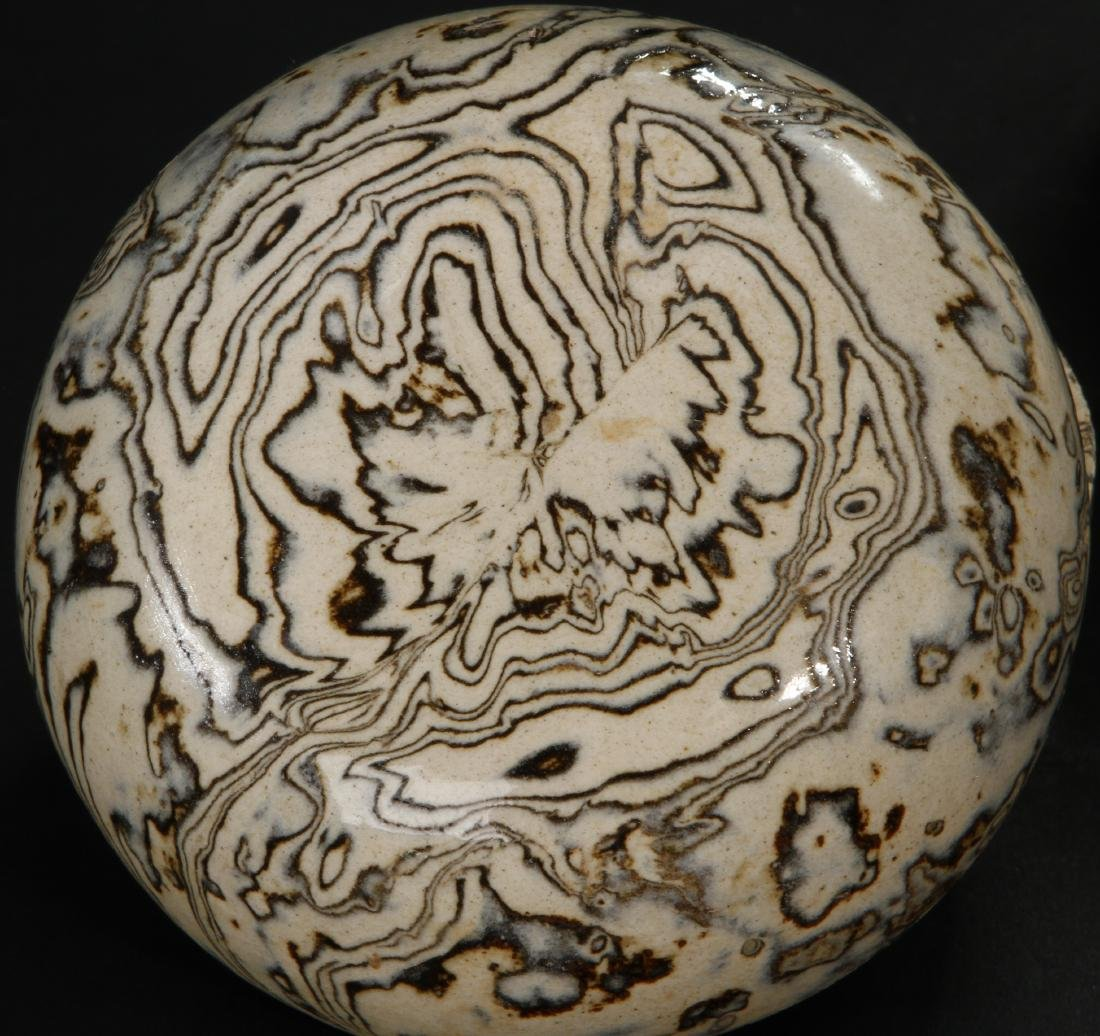 Pair Marbled Circular Boxes/Covers - 8