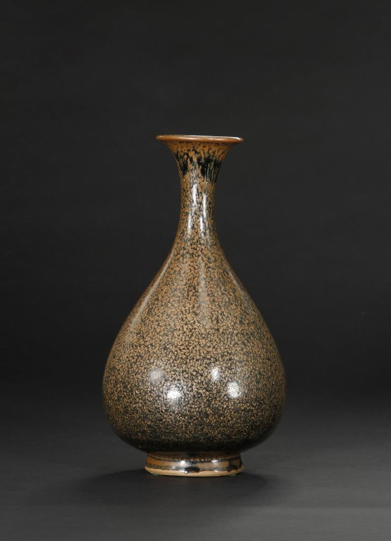 Cizhou Black Glazed Russet Spotted Yuhuchuan Vase - 2