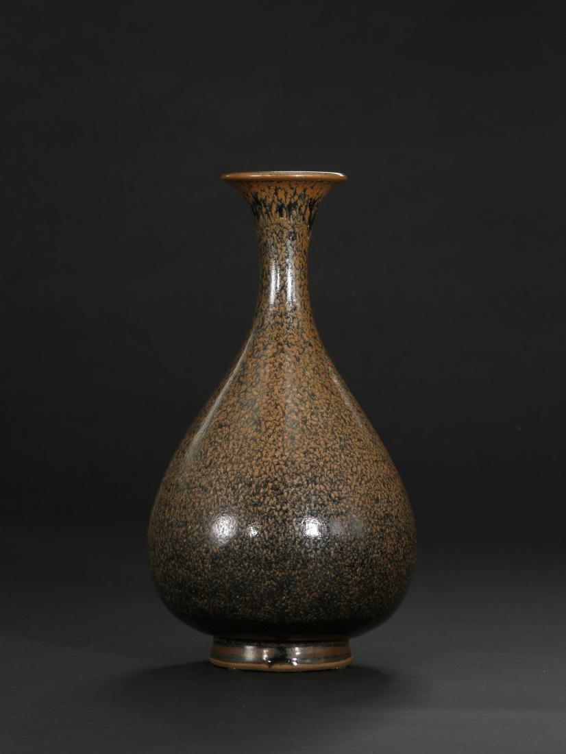 Cizhou Black Glazed Russet Spotted Yuhuchuan Vase - 3