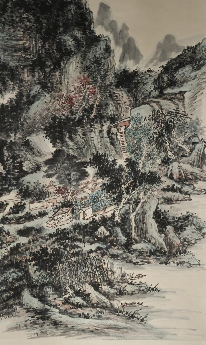 Chinese Scroll Painting of Landscape, Huang Binhon - 2
