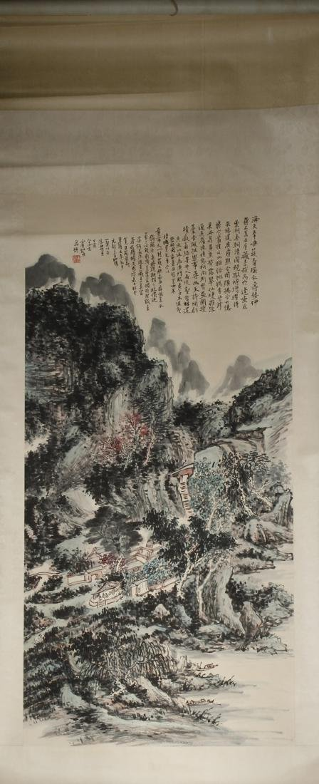 Chinese Scroll Painting of Landscape, Huang Binhon - 4