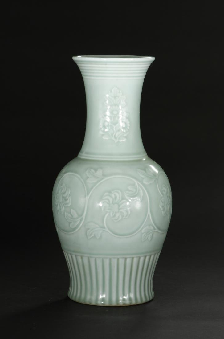 Celadon Glazed and Carved Baluster Vase, Yung-Chen