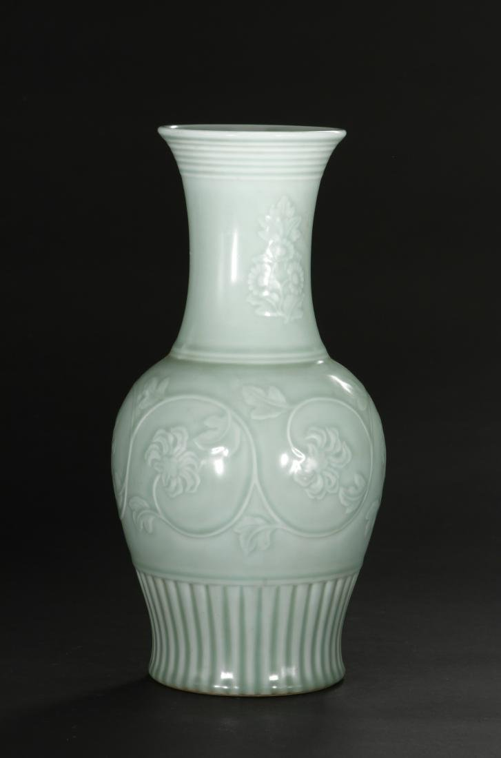 Celadon Glazed and Carved Baluster Vase, Yung-Chen - 2
