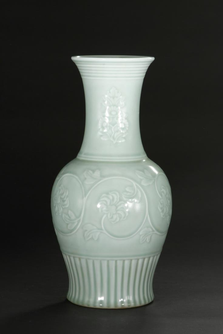 Celadon Glazed and Carved Baluster Vase, Yung-Chen - 3