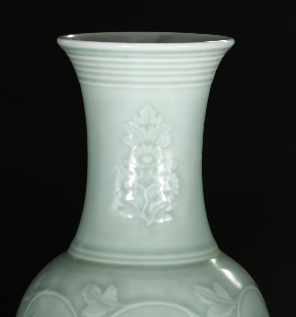 Celadon Glazed and Carved Baluster Vase, Yung-Chen - 4