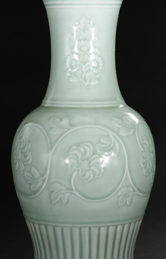 Celadon Glazed and Carved Baluster Vase, Yung-Chen - 5