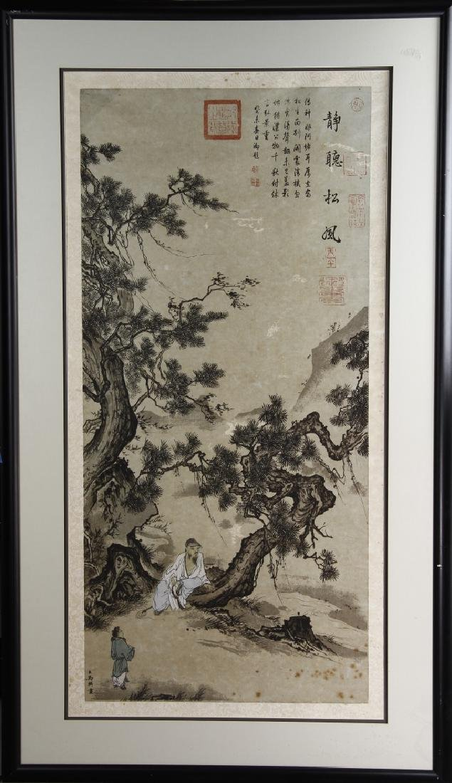 Framed Painting of a Scholar, attributed to Ma Lin