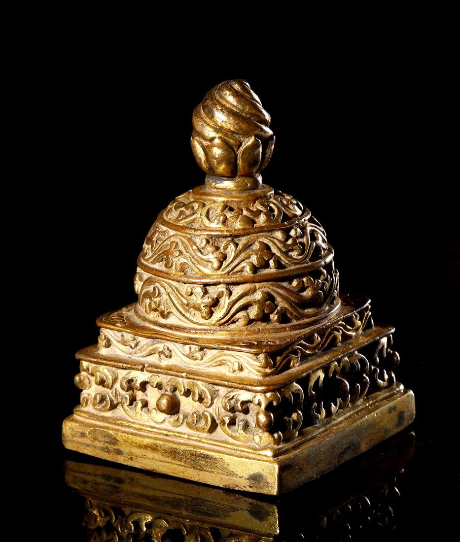 Sino-Tibetan Gilt Copper 'Stupa' Seal