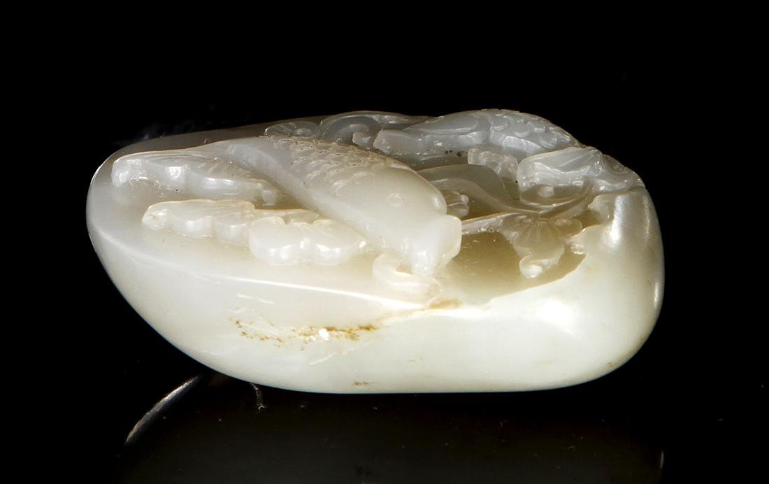 Chinese Carved Hetian White Jade of Fishes - 3