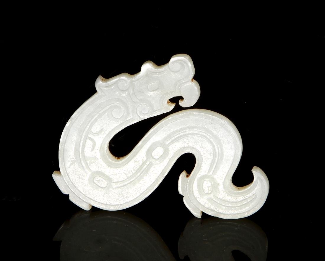 Chinese Carved Hetian White Jade Pendant of Dragon