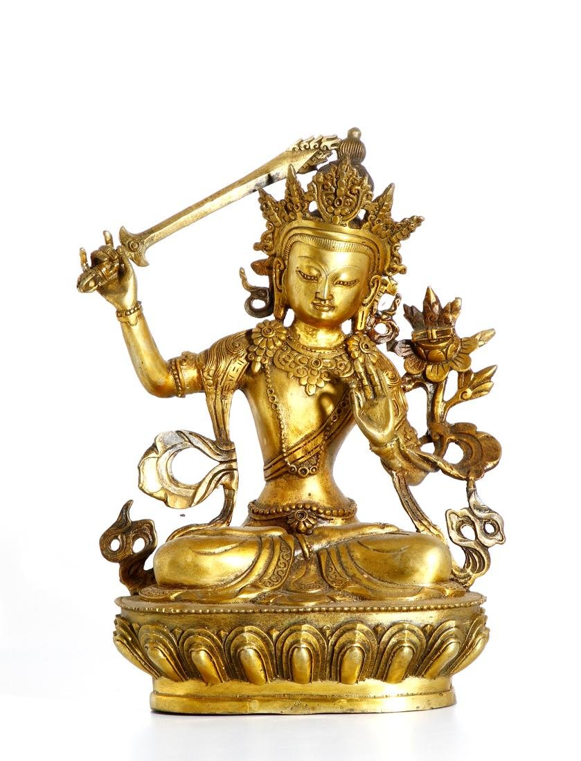 Chinese Gilt Bronze Figure of Manjushri