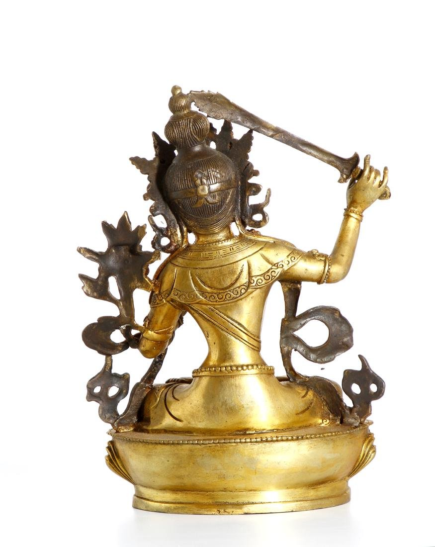 Chinese Gilt Bronze Figure of Manjushri - 3