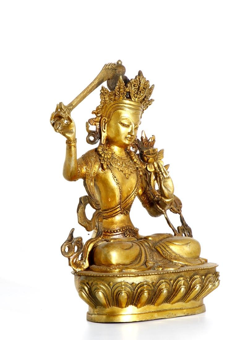 Chinese Gilt Bronze Figure of Manjushri - 4