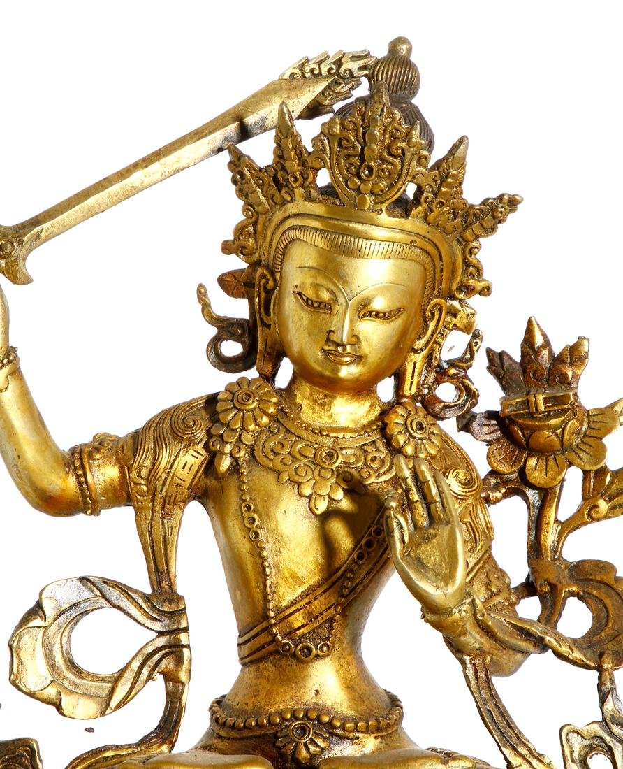 Chinese Gilt Bronze Figure of Manjushri - 5