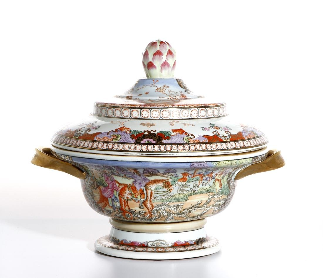 Chinese Rare Export Rose Medallion Bowl and Cover