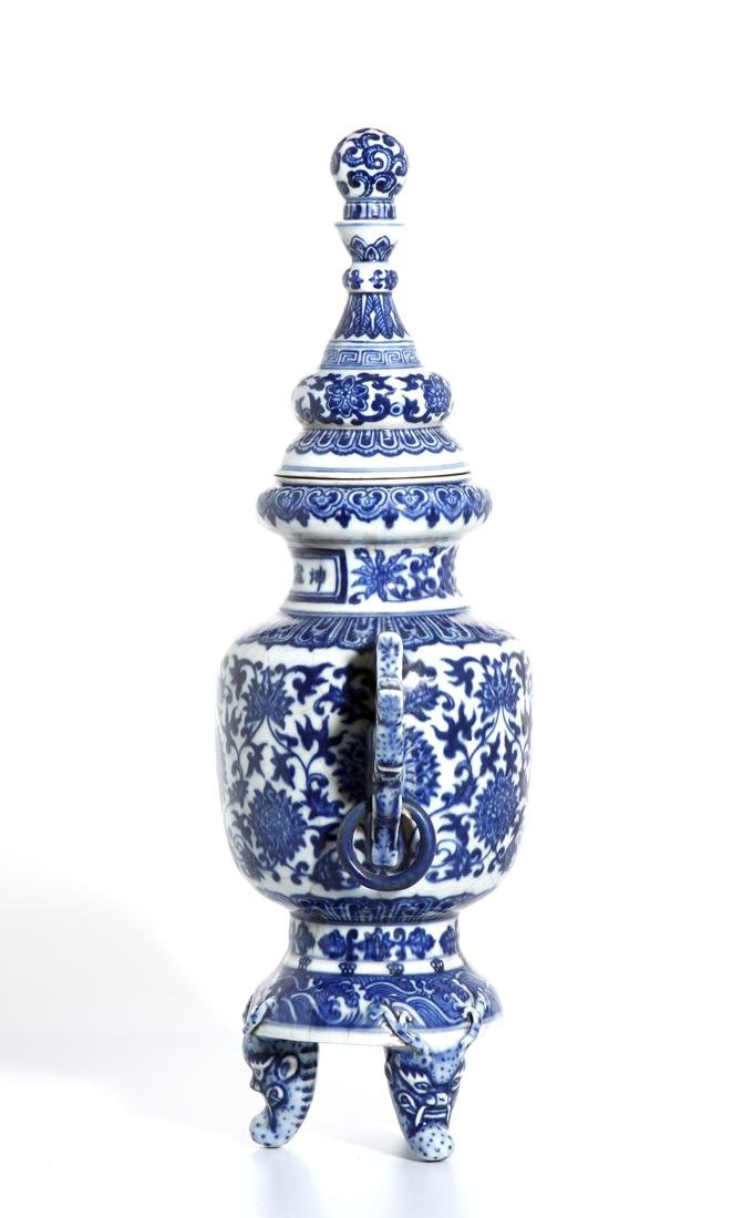 Chinese Blue and White Tripod Censer With Cover - 2