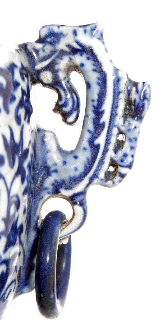 Chinese Blue and White Tripod Censer With Cover - 6