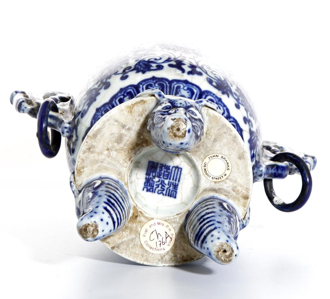 Chinese Blue and White Tripod Censer With Cover - 9