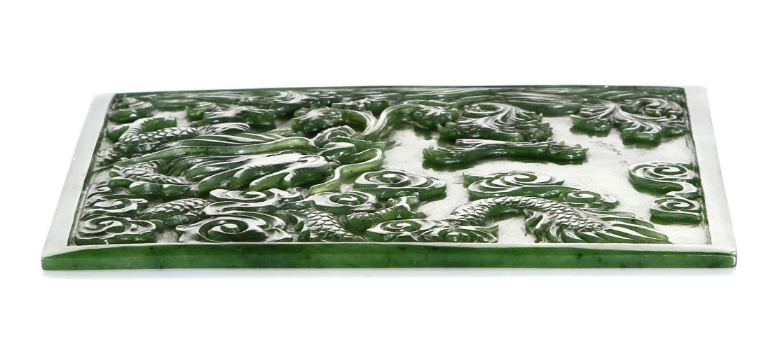 Chinese Green Jade Plaque - 4