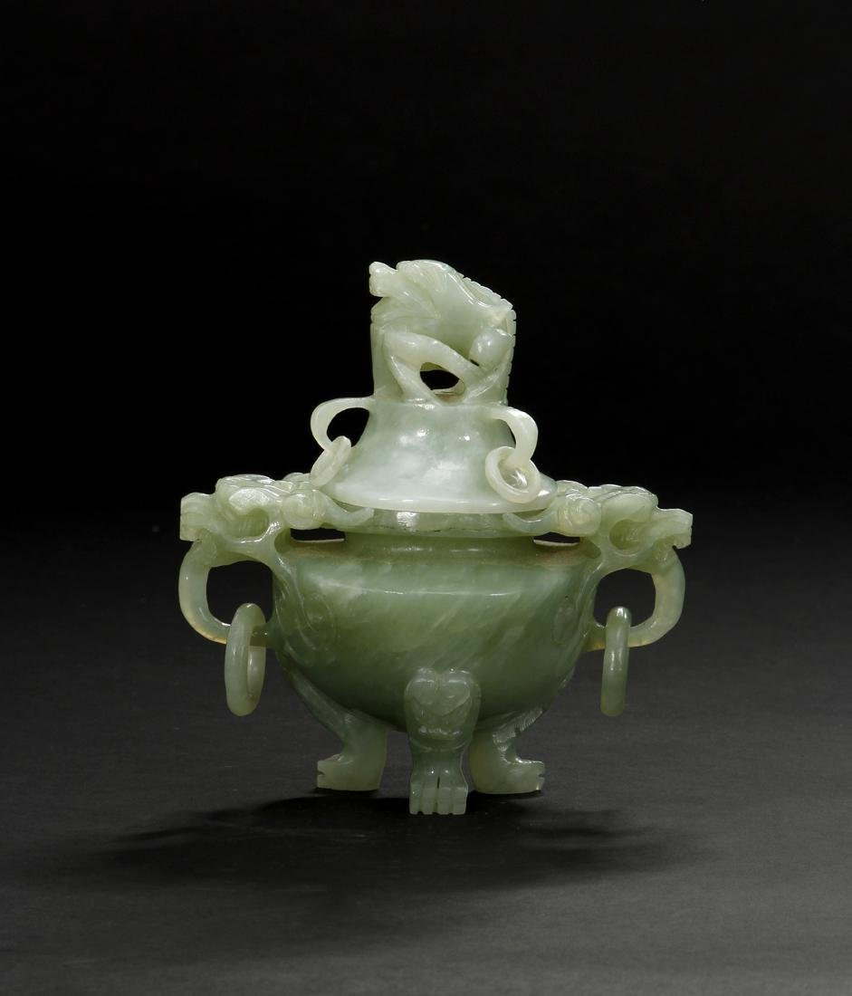 Chinese Celadon Jade Tripod Incense Burner