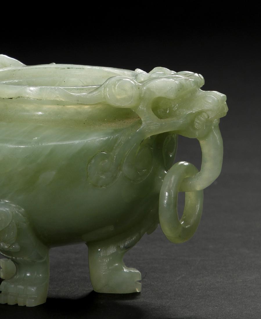 Chinese Celadon Jade Tripod Incense Burner - 6