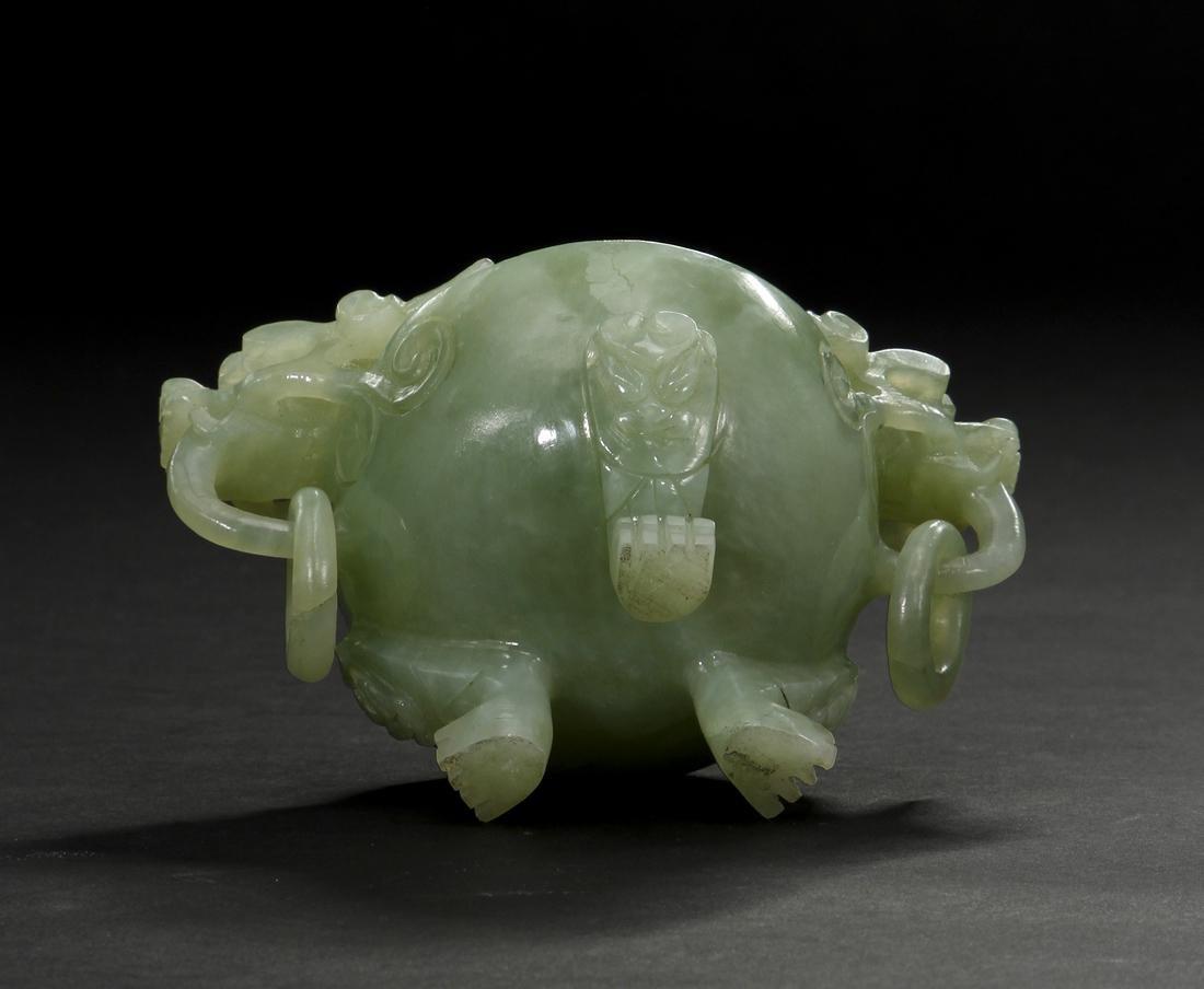 Chinese Celadon Jade Tripod Incense Burner - 7