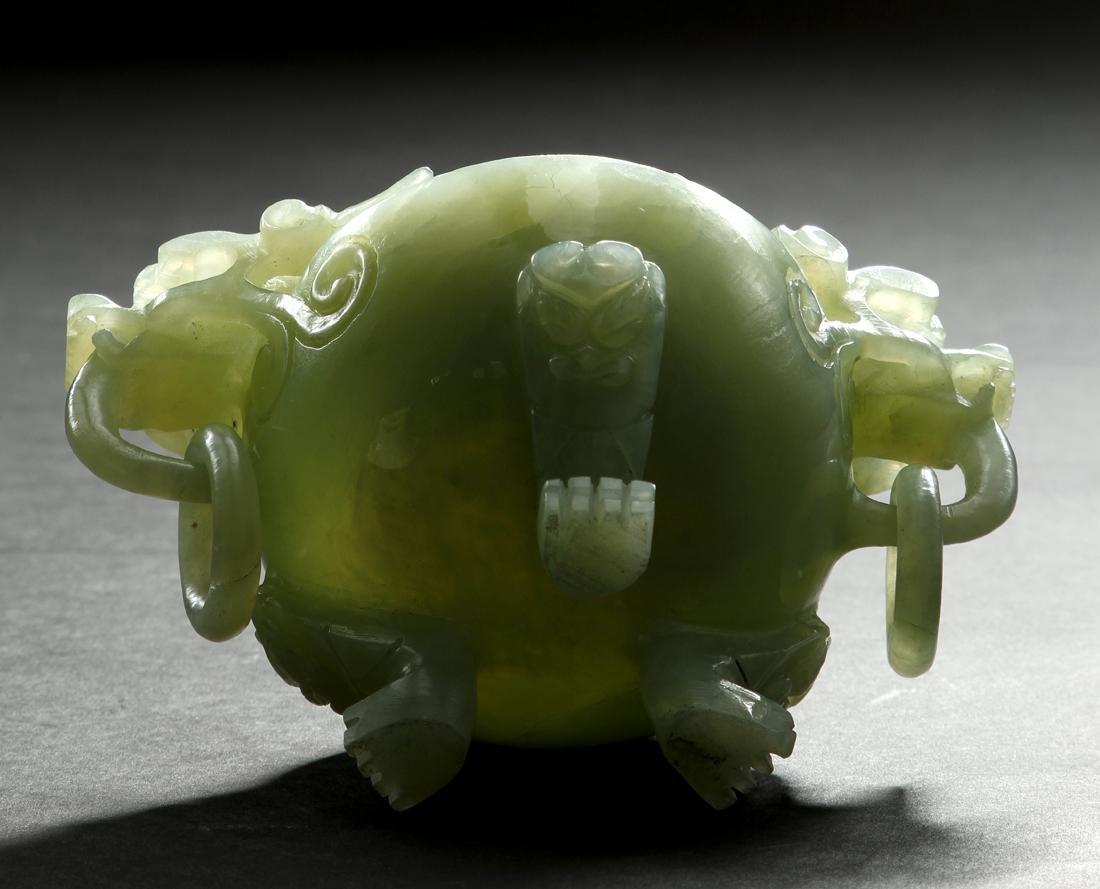 Chinese Celadon Jade Tripod Incense Burner - 8