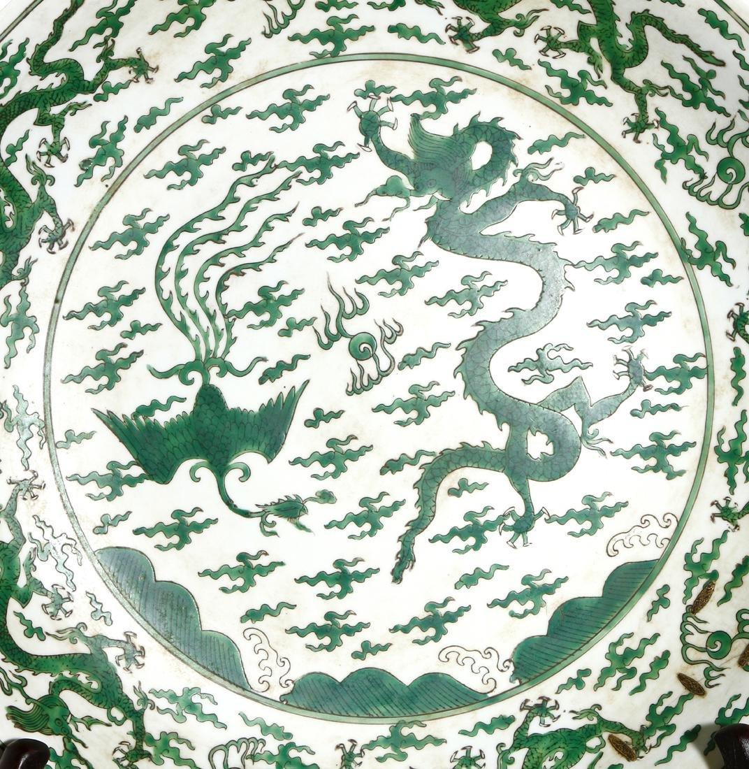 Large Chinese Enameled 'Dragon-Phoenix' Charger - 2