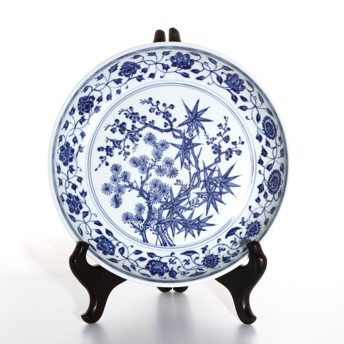 Chinese Blue and White 'Three Friends' Charger