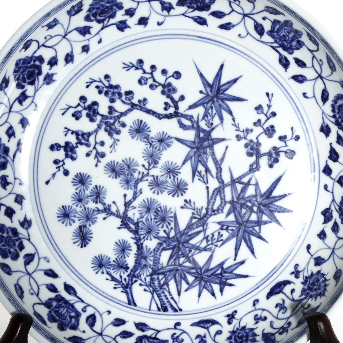Chinese Blue and White 'Three Friends' Charger - 2