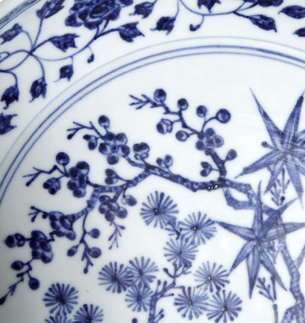 Chinese Blue and White 'Three Friends' Charger - 3