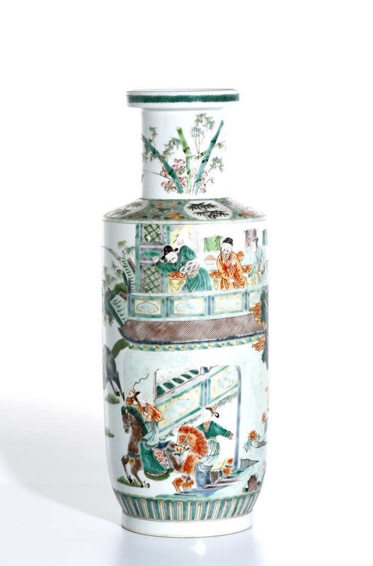 Chinese Famille Verte 'Figural' Rouleau Vase