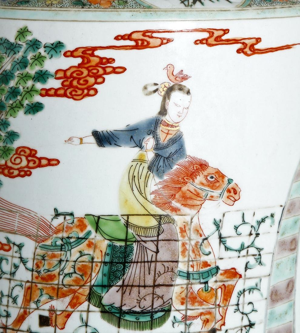Chinese Famille Verte 'Figural' Rouleau Vase - 5