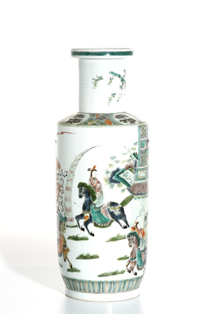 Chinese Famille Verte 'Figural' Rouleau Vase - 3
