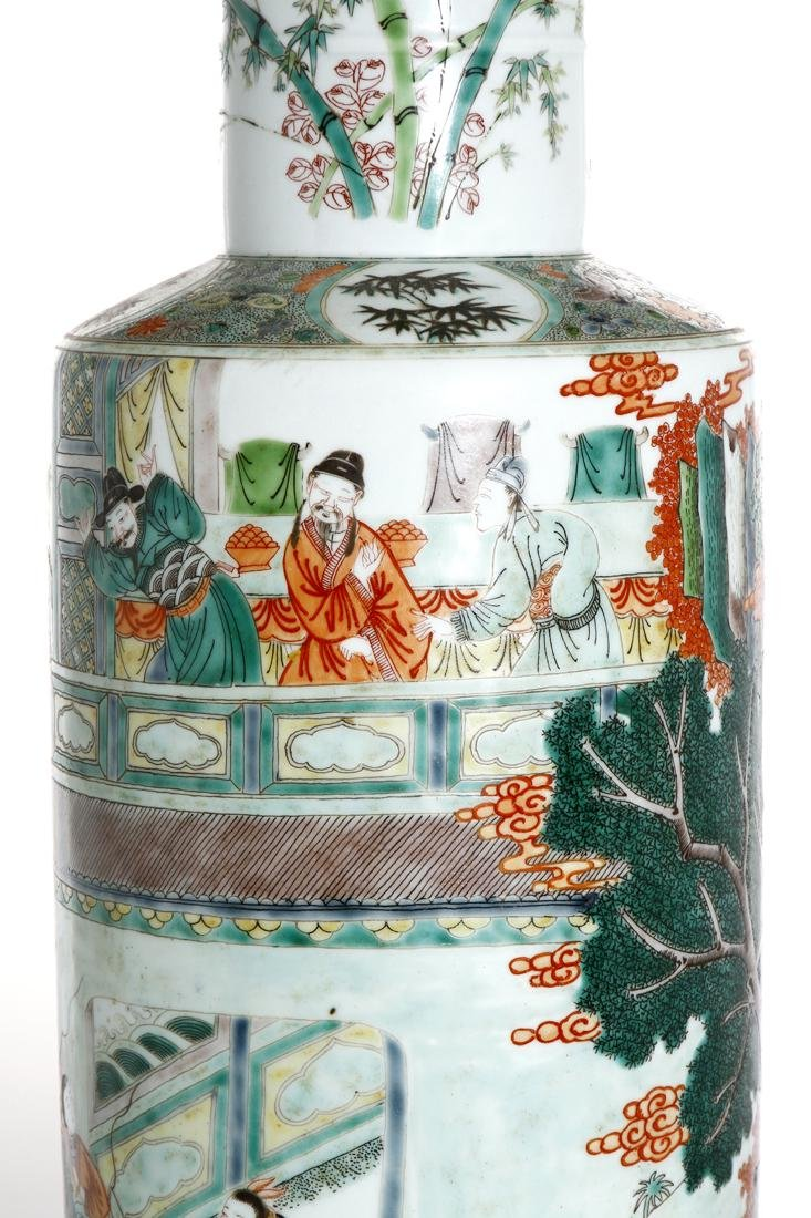 Chinese Famille Verte 'Figural' Rouleau Vase - 4