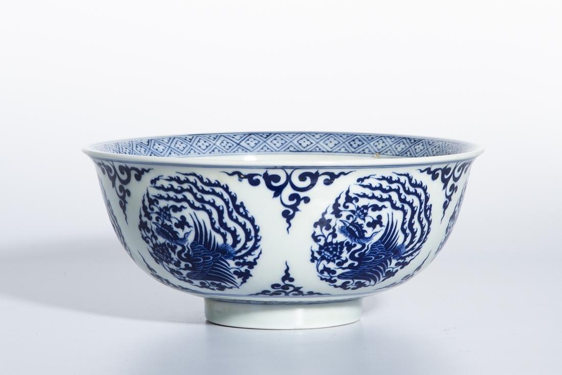 Chinese Blue and White 'Phoenix Medallion' Bowl - 2