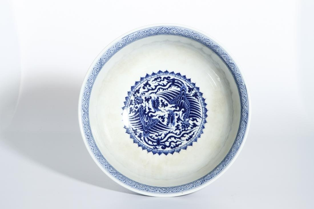Chinese Blue and White 'Phoenix Medallion' Bowl - 4