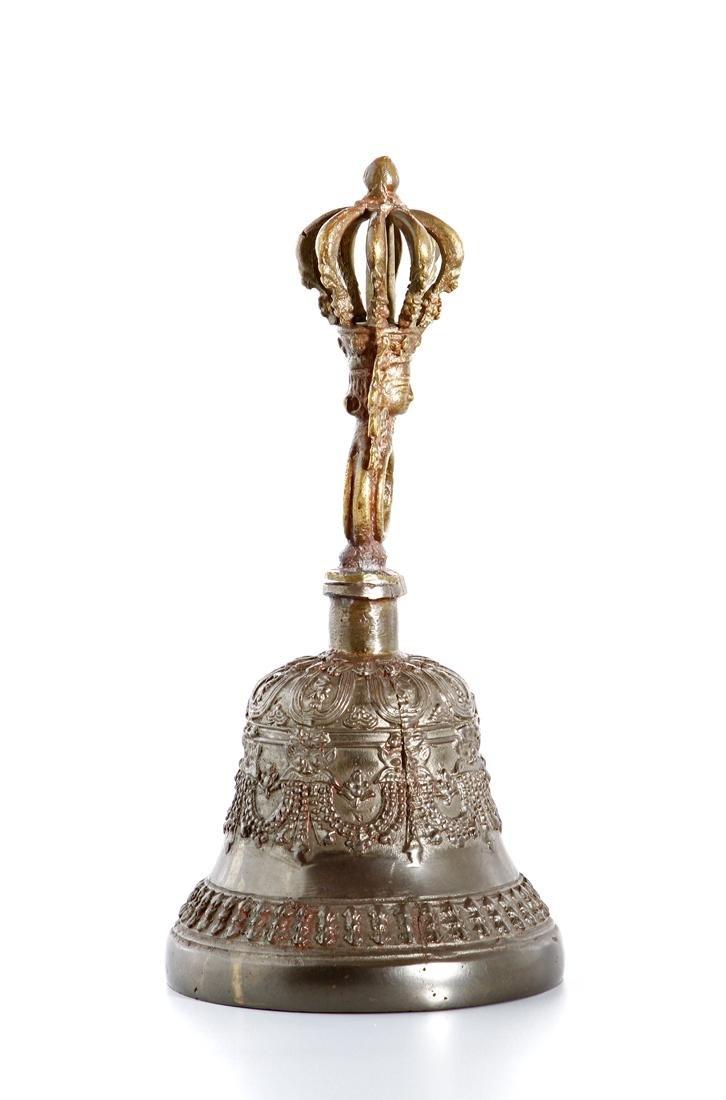 Indian Parcel-Gilt Bronze Ceremonial Bell - 3