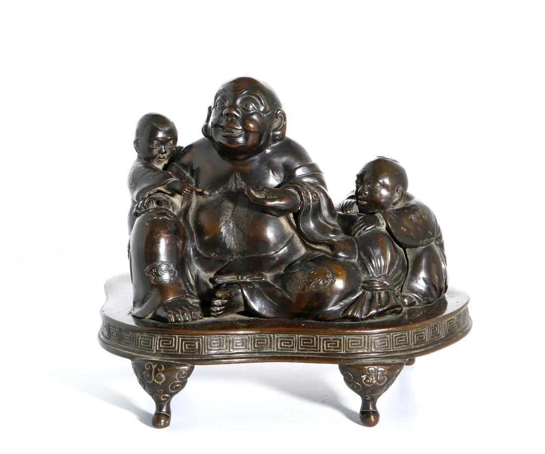 Chinese Bronze Figure of Budai and Children