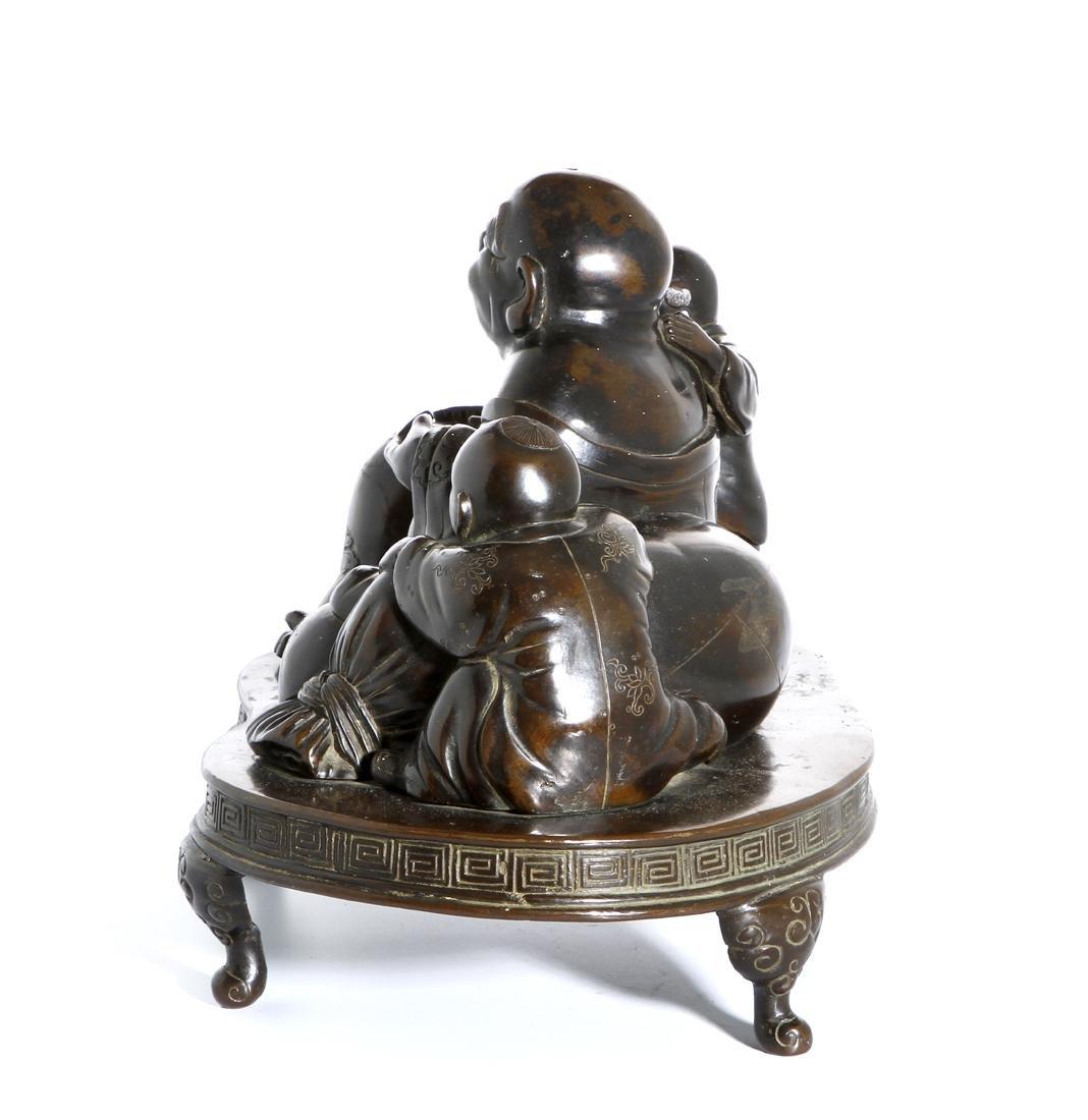 Chinese Bronze Figure of Budai and Children - 2