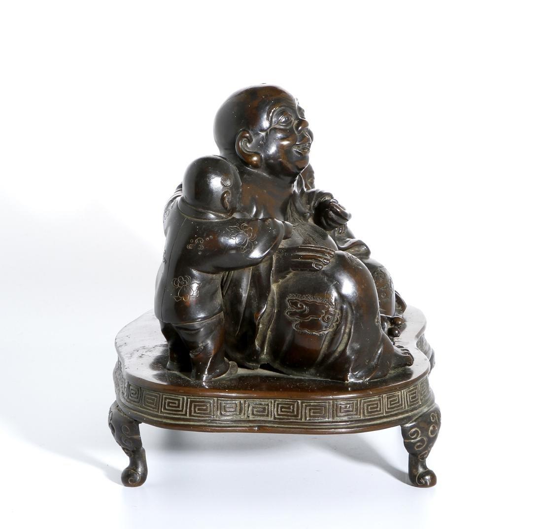 Chinese Bronze Figure of Budai and Children - 4