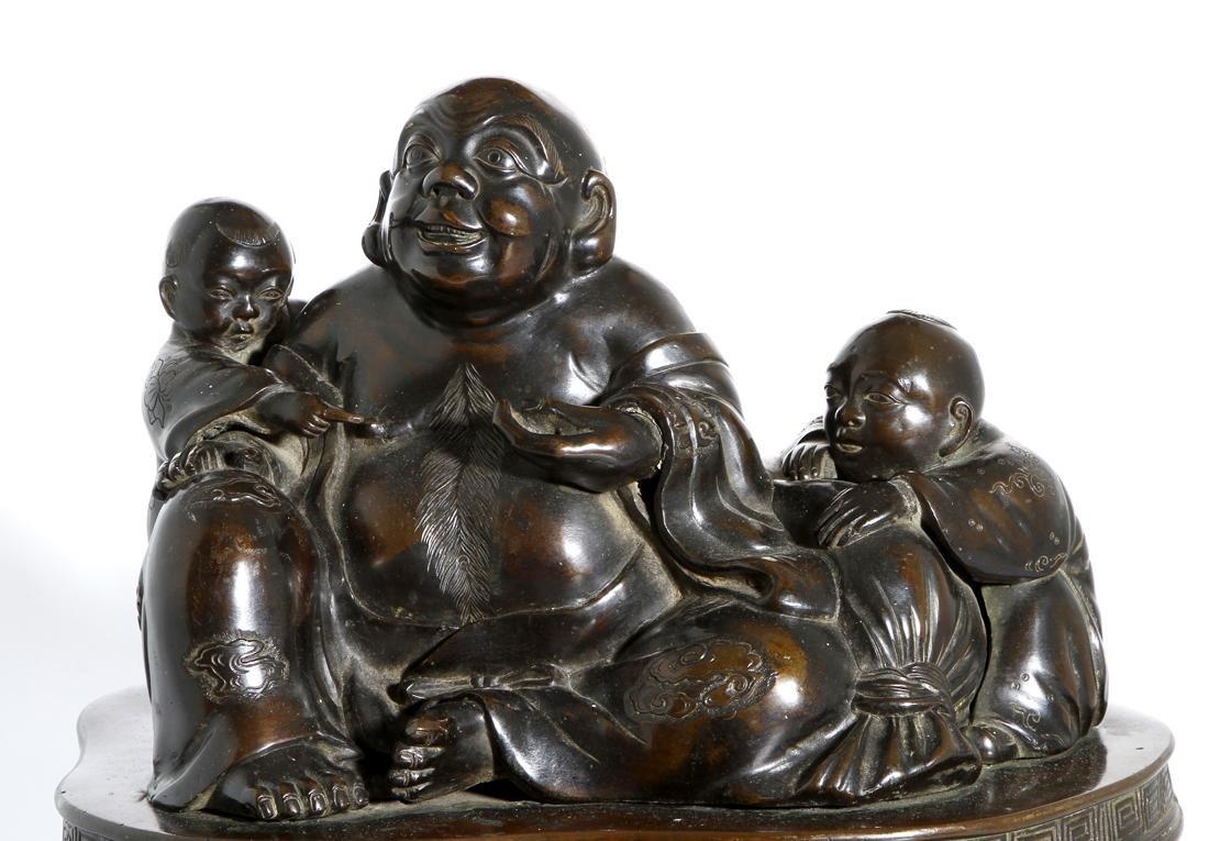Chinese Bronze Figure of Budai and Children - 5