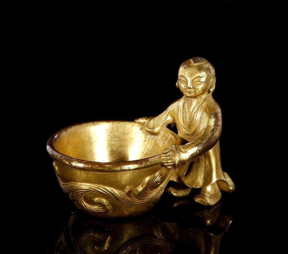 Chinese Gilt Bronze Figural Brush Washer