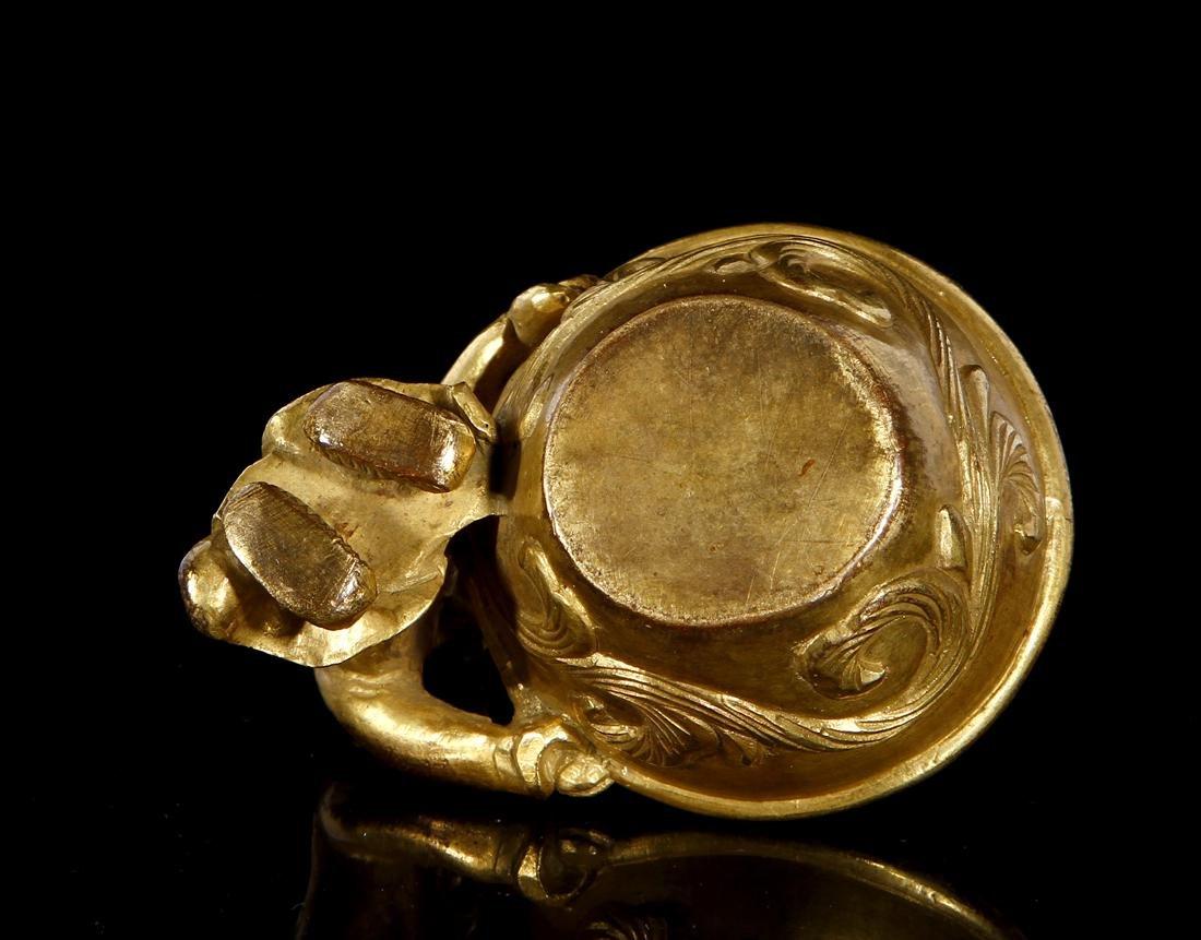 Chinese Gilt Bronze Figural Brush Washer - 3