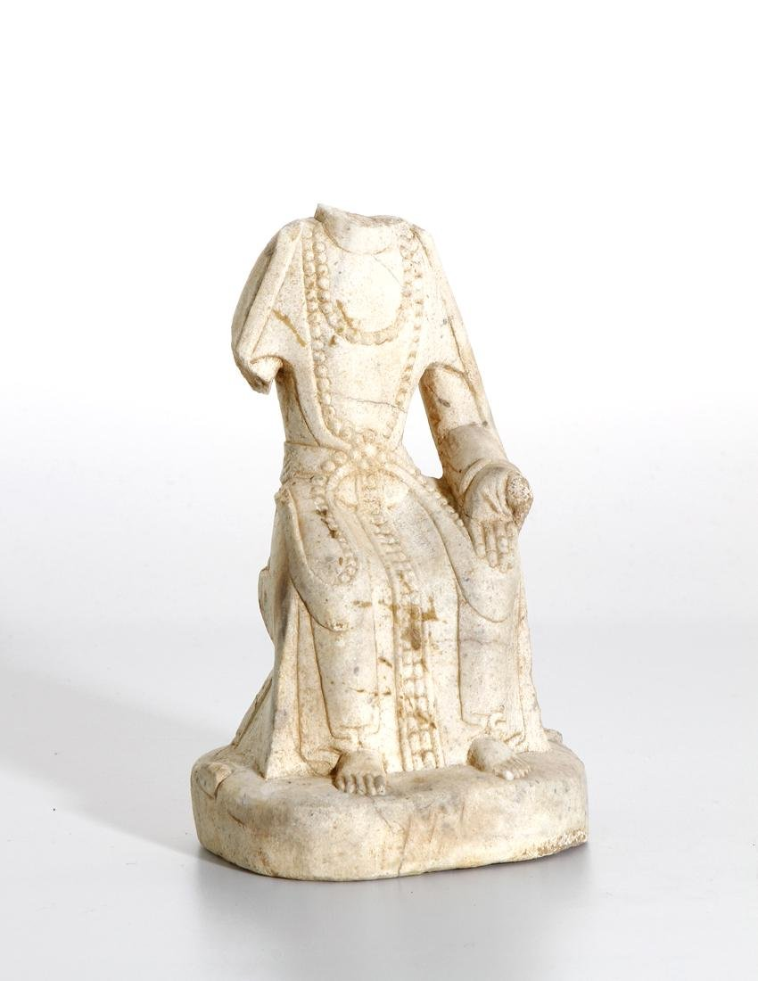Chinese Carved Stone Figure of Seated Maitreya